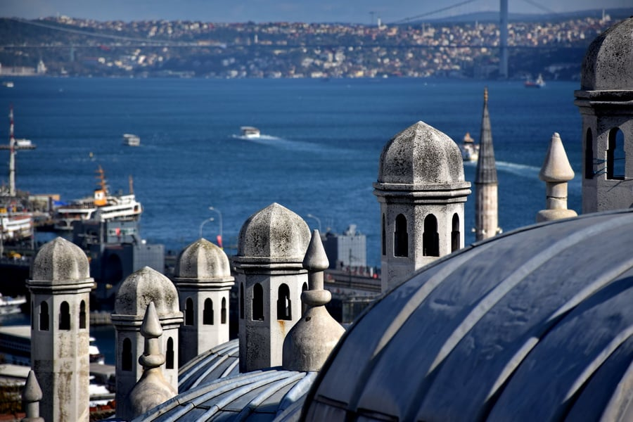 İstanbul, Süleymaniye Camisinden boğaz manzarası