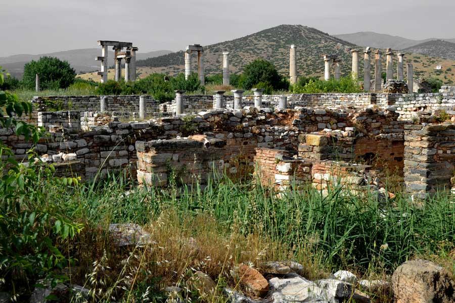 Afrodisias antik kenti Psikoposluk sarayı ve Afrodit Tapınağı, Afrodisias fotoğrafları - Bishop palace and Aphrodite Temple, Aphrodisias photos