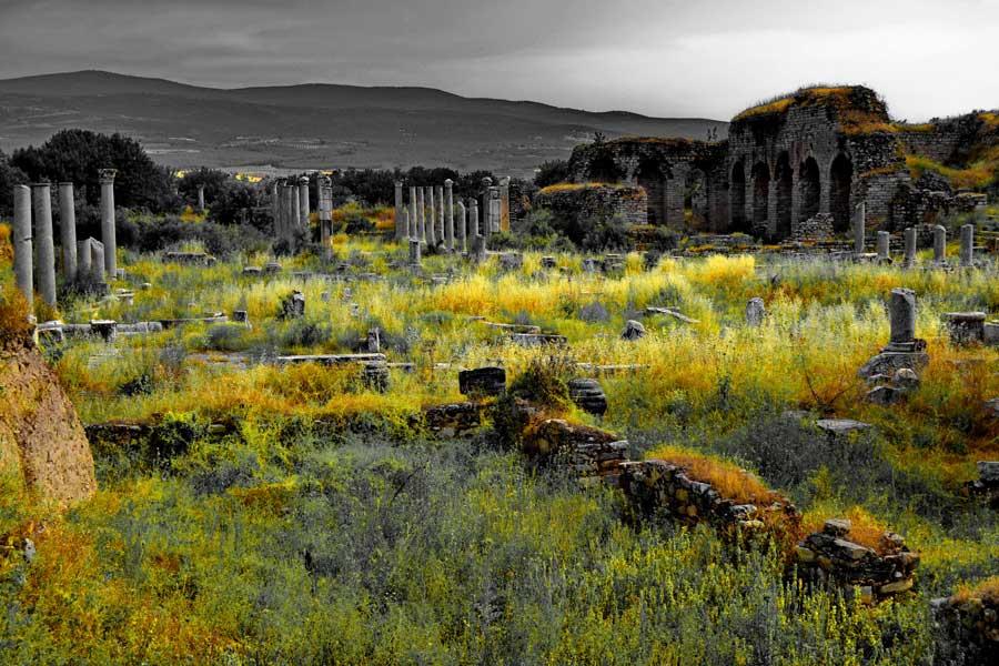 Afrodisias antik kenti Tiberius Portikosu ve Agora kapısı, Afrodisias fotoğrafları - Tiberius Portico and Agora gate, Aphrodisias photos