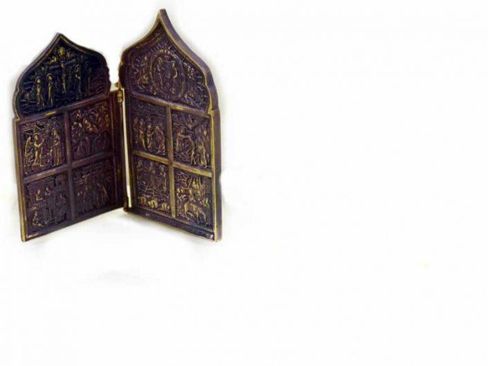 Bandırma Arkeoloji Müzesi Bizans dönemi Bronz Diptikon - Bronze Diptych, Byzantine Period, Bandirma Archaeological Museum, Turkey