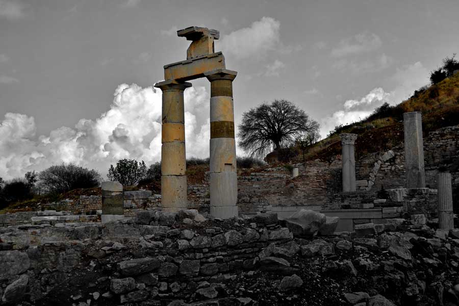 Efes antik kent yapıları fotoğrafları, Efes fotoğrafları - on the marble street, Ephesus photos