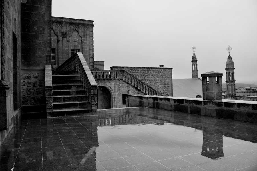 Mor Gabriel Manastırı fotoğrafları çan kuleleri, Midyat Türkiye - Bell Towers in Mor Gabriel Monastery, Mardin Midyat Turkey
