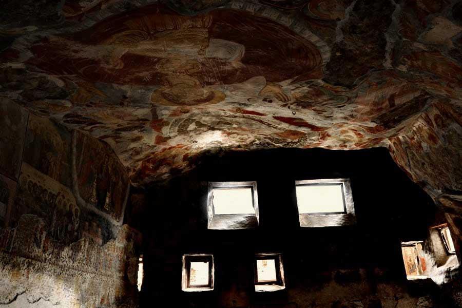 Sümela manastırı büyük salon tavan ve duvar freskleri, Sümela manastırı fotoğrafları - carpet on the ceiling, Sumela monastery photos