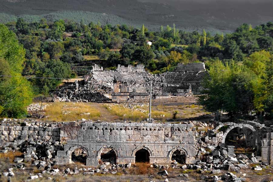 Tlos antik kenti Roma stadyumundan tiyatroya bakış, Tlos fotoğrafları - From the roman stadium looking at the theater, Tlos photos
