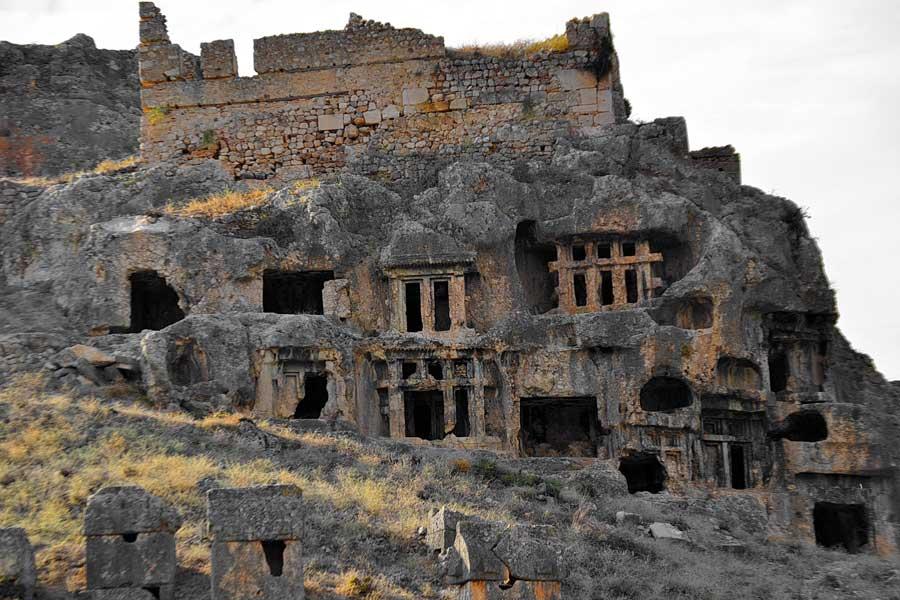 Tlos antik kenti kaya mezarları, Tlos fotoğrafları, Fethiye Muğla - Monumental rock tombs, Tlos photos