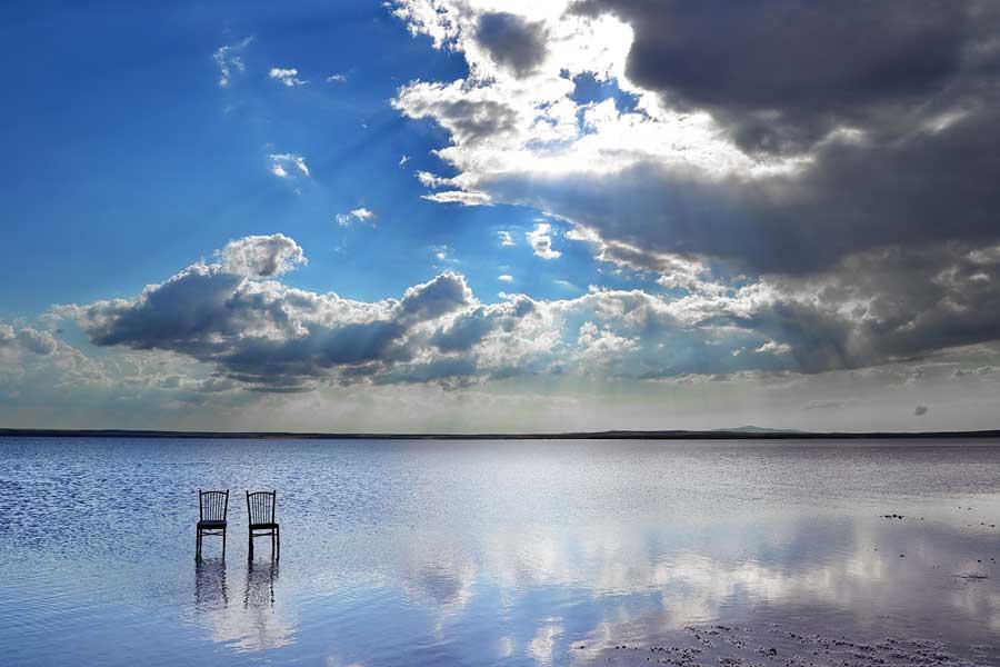 Tuz gölü güneş ışığı yansıması fotoğrafı Ankara İç Anadolu - Turkey Central Anatolia Salt lake sunligh reflection