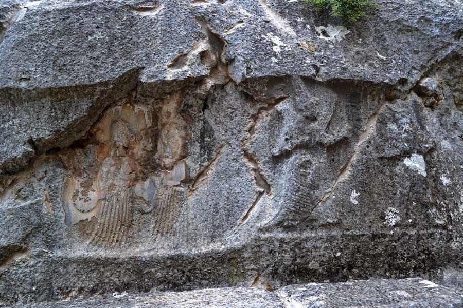 Yazılıkaya fotoğrafları A (batı) odası savaş tanrıçası Sauska ve hizmetçileri Ninatta, Kulitta ve bilgelik tanrısı Ya Aya, Çorum