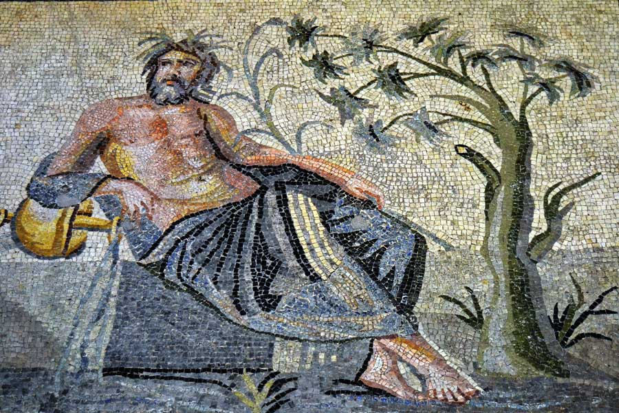 Zeugma Mozaik Müzesi, Fırat Nehri Tanrısı Euphrates, Roma villasında bulunmuştur - Euphrates, god of the river, found in the Roman house, Zeugma Mosaic Museum