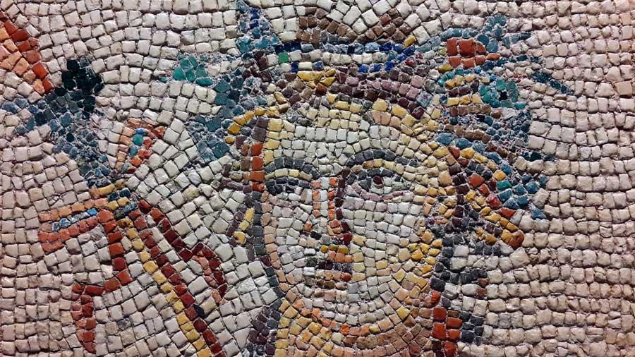 Zeugma Mozaik Müzesi fotoğrafları Dionysos mozaiği detayları - Dionysus mosaic's details, Zeugma Mosaic Museum Southeastern Anatolia region Turkey