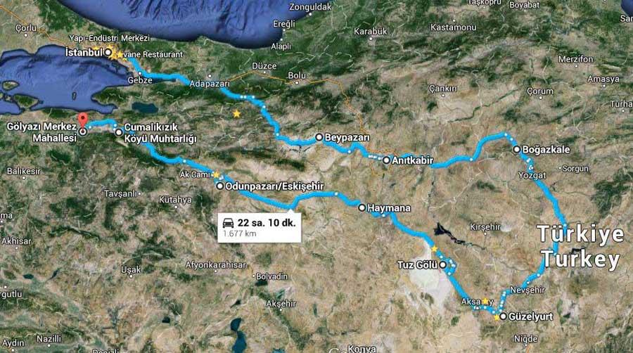İç Anadolu bölgesi güzergahı - Central Anatolia route