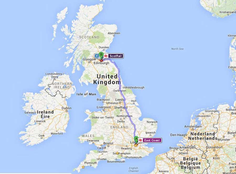 İngiltere güzergahı Londra'dan Edinburgh'a tren rotası - England route from London to Edinburgh train route
