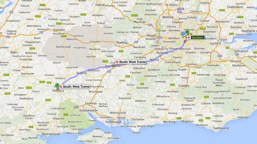 İngiltere güzergahı Salisbury'den Londra'ya tren rotası - England route from Salisbury to London train route