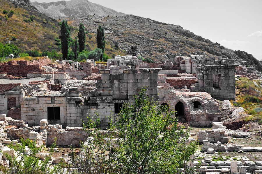 Akdeniz antik kentler Sagalassos antik kenti kent konağı - Turkey Urban mansion of Sagalassos ancient city