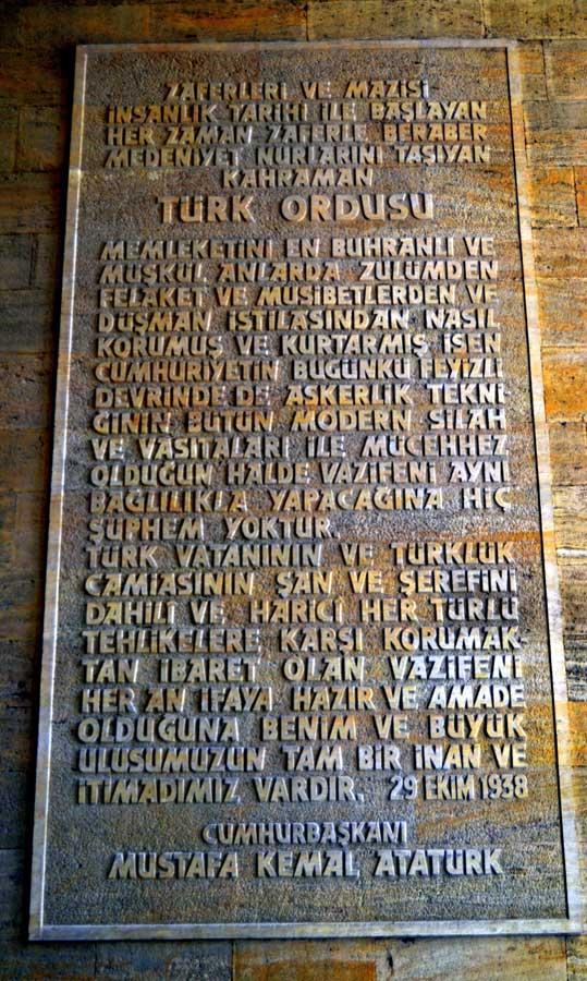 Anıtkabir fotoğrafları Atatürk'ten Türk ordusuna - Ataturk's letter to the Turkish army, Ataturk's Mausoleum photos