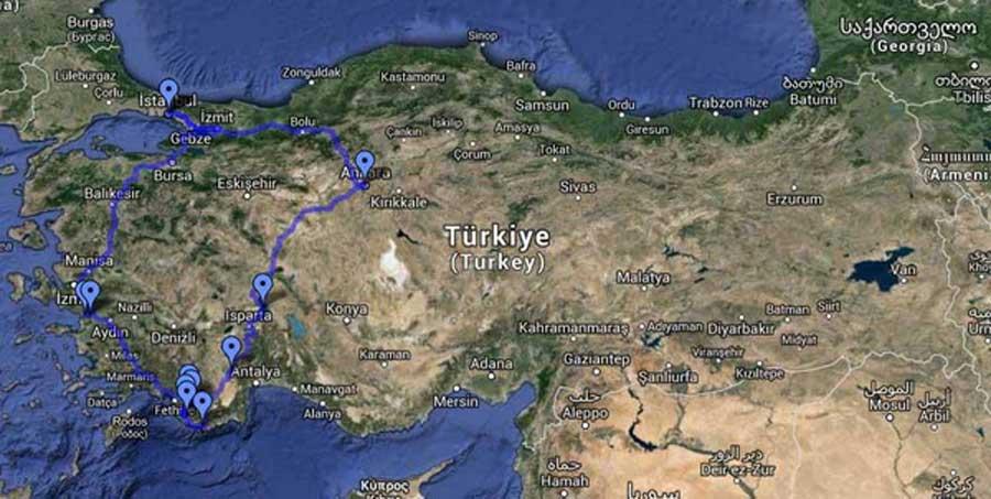 Ankara Kaş güzergahı - Ankara Kas route