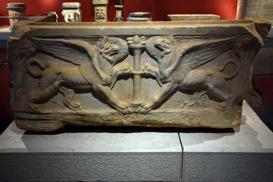 Antalya Müzesi eserleri Lahitler salonu - Antalya Archaeological Museum Sarcophagus Hall, Turkey