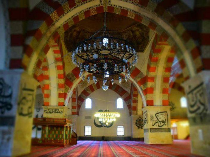Eski Cami içindeki hat yazıları ve fotoğrafları - Edirne Old Mosque Islamic calligraphy photos