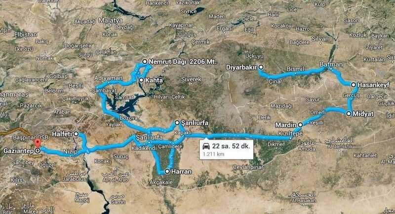 Güneydoğu Anadolu Turu Güzergahı – Southeastern Anatolia Route