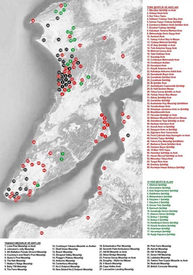Gelibolu Yarımadası Tarihi Milli Parkı Şehitlik, Anıt ve Önemli Mevziler ile Gelibolu gezilecek yerler - Gallipoli peninsula historic park map