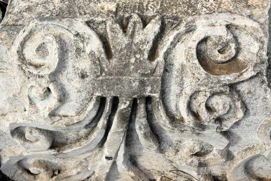 Kyzikos antik kenti fotoğrafları mermer süslemesi Kapıdağ yarımadası Erdek Bandırma - Kyzikos ancient city marble decoration, Kapidag peninsula Turkey