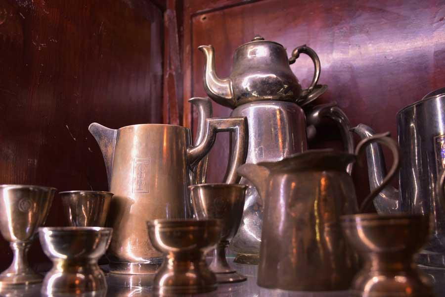 Orient Ekspres gümüş servis yemek takımları, İstanbul demiryolu müzesi fotoğrafları - Orient Express silver service dinner sets, Istanbul Railway Museum photos