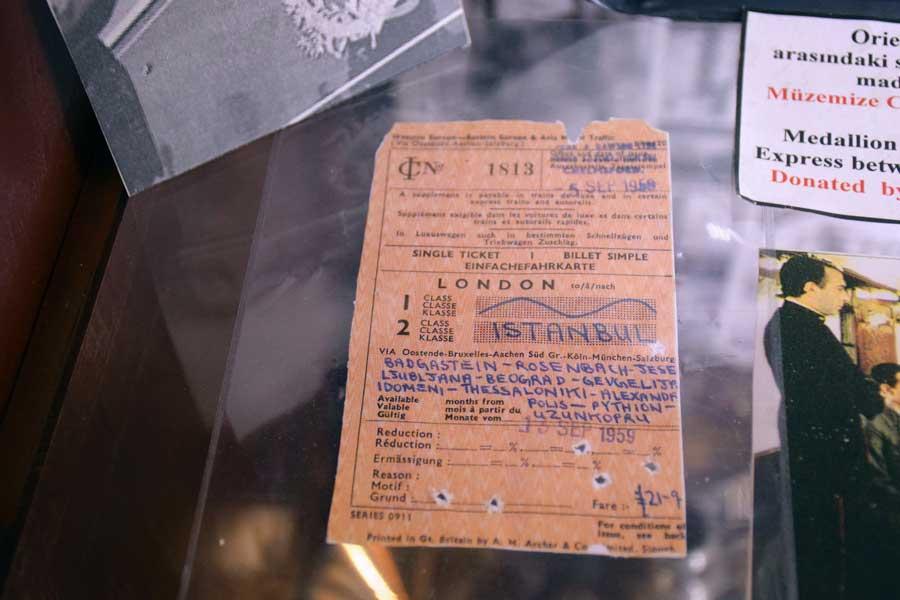 Orient ekspress bileti 13 Eylül 1959 İstanbul Demiryolu Müzesi fotoğrafları - Orient Express tictet 13 September 1959, Istanbul Railway Museum