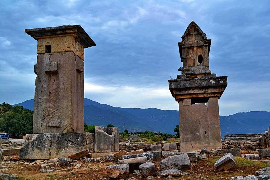 Xanthos fotoğrafları Harpy lahit anıtı ve Likya lahdi - Harpy Tomb Monument and Lycian Sarcophagus, Xanthos photos