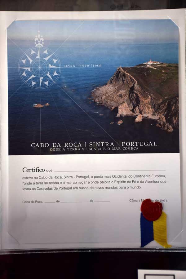 Avrupa'nın en batı ucu Roca Burnu sertifikası - Cabo da Roca, Roca Cape Monument, Europe's westernmost