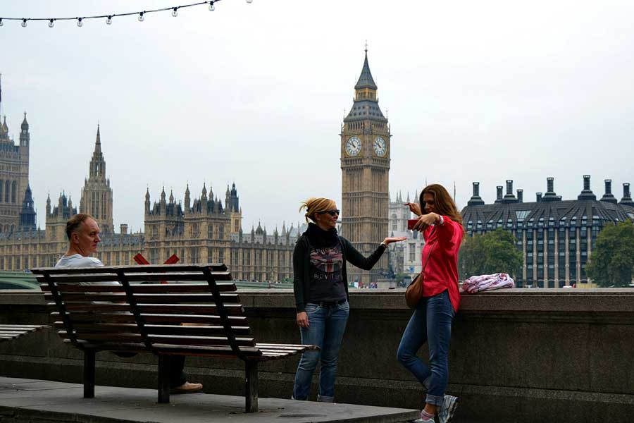 Londra parlamento binası ve selfie - London selfie and Palace of Westminster