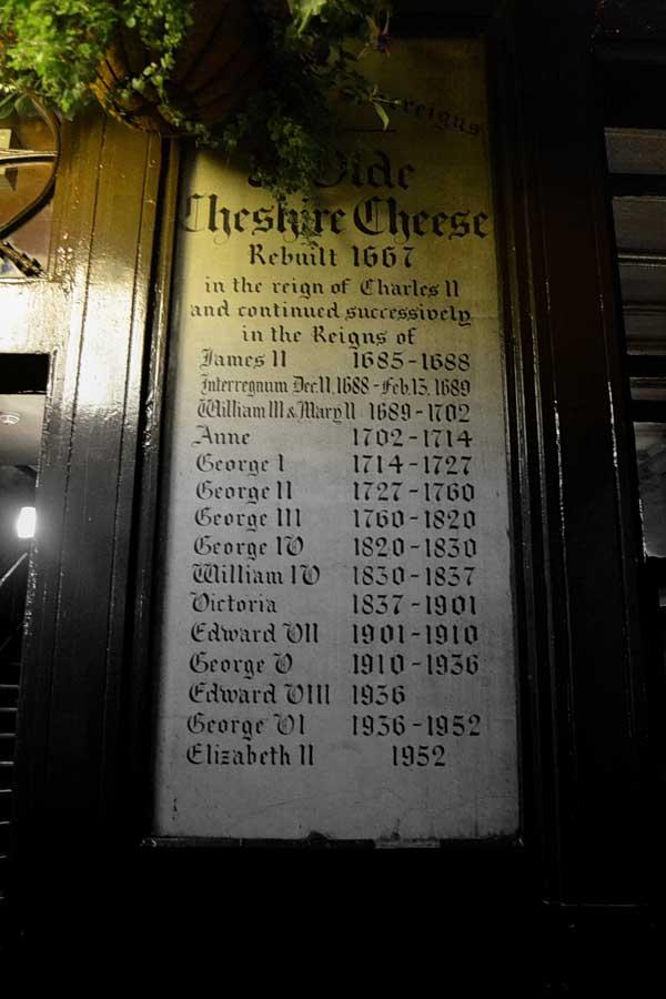 Londra pubları Ye Olde Cheshire Cheese tarihi çizelgesi - London pubs