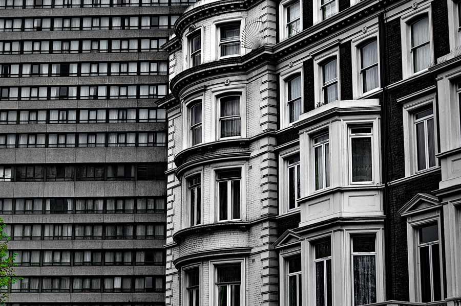 Londra siyah beyaz eski ve yeni mimari Londra fotoğrafları - old and new architectural London photos
