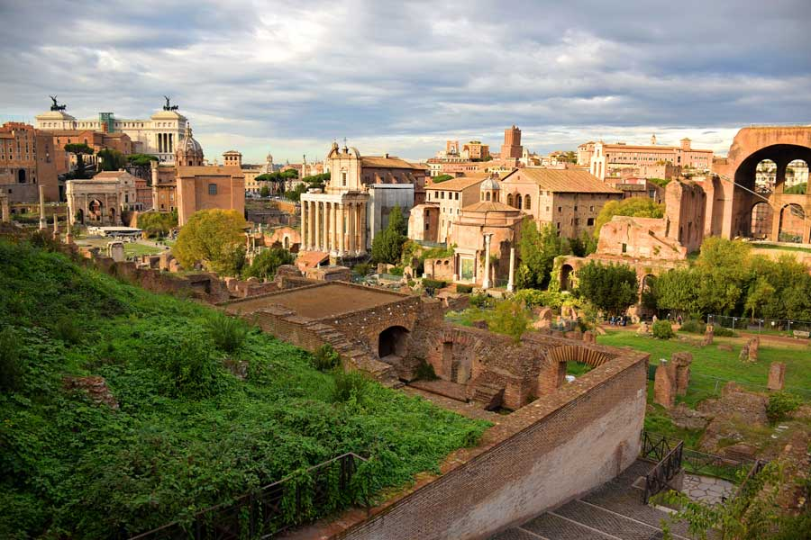 Palatino Tepesi Roma Forumu genel bakış - Rome General view of Palatine Hill Roman Forum