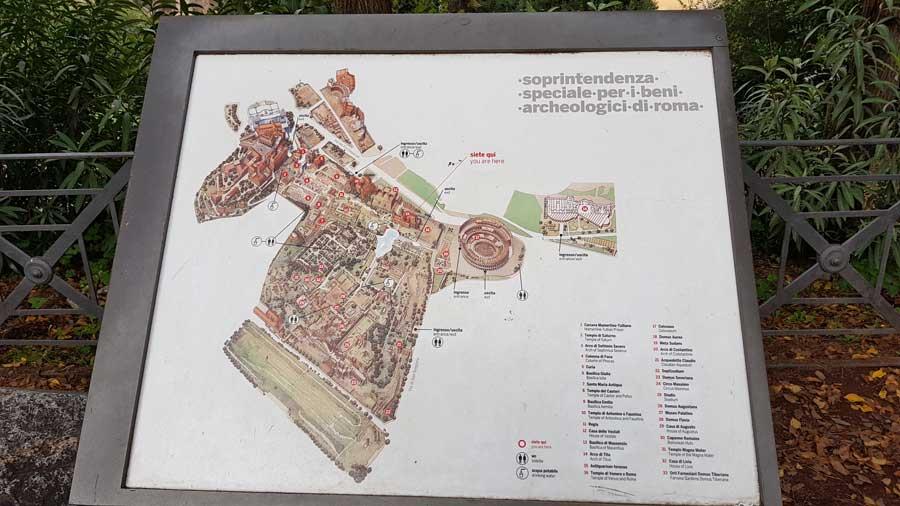 Palatino tepesi Roma Forumu Yerleşim Haritası - Palatine Hill Roman Forum Site Map, Roma Italy