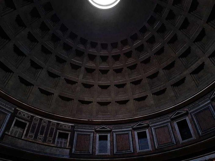 Pantheon fotoğrafları kasetli beton kubbe ve kubbe kasnağı pencereleri - Rome Pantheon coffered concrete dome and dome ring windows