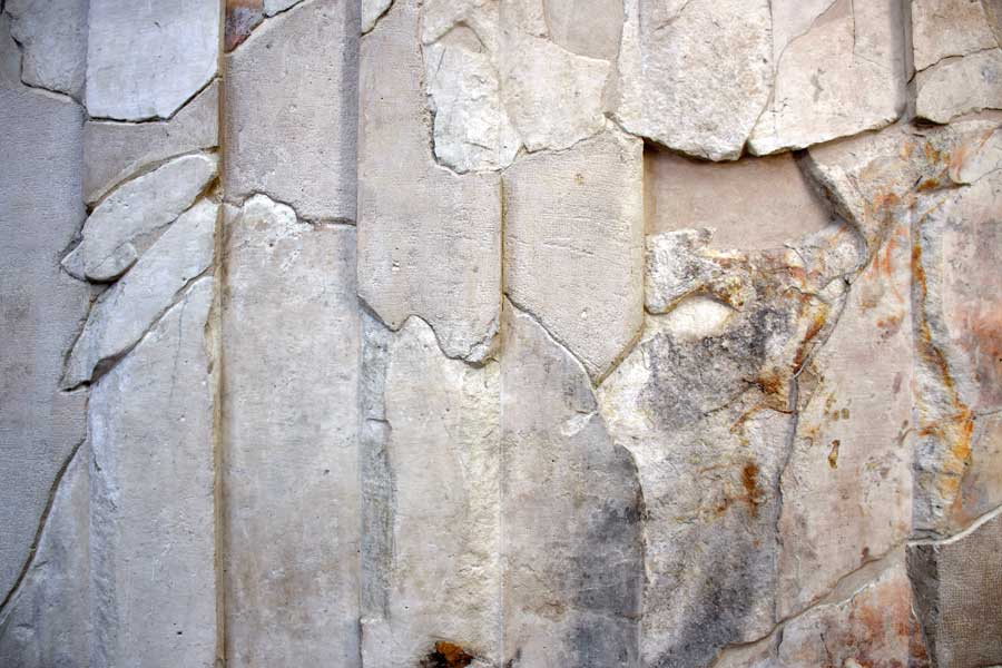 Roma Ara Pacis Müzesi sunak restorasyon izleri - Ara Pacis Museum altar restoration fragments