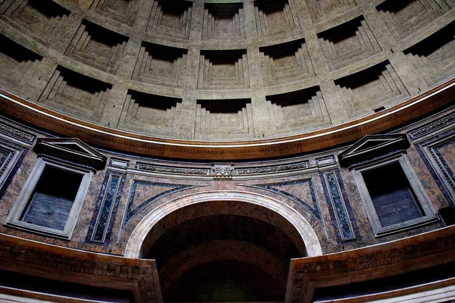 Roma Pantheon fotoğrafları kasetli beton kubbe ve kubbe kasnağı pencereleri - Rome Pantheon coffered concrete dome and dome ring windows