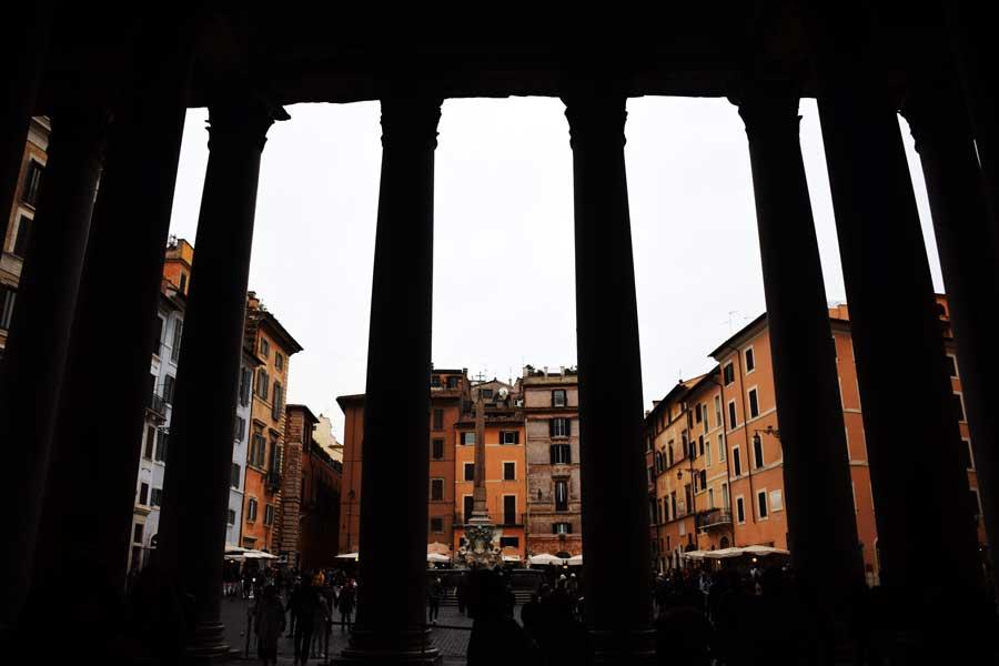 Roma Pantheon fotoğrafları portiko sütunları - Rome Pantheon portico