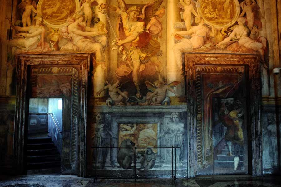 Roma Sant'Angelo Kalesi fotoğrafları duvar resimleri - interior room paintings from Castel Sant Angelo (Pauline Hall)
