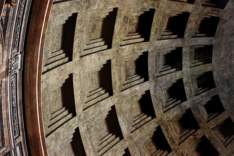 Roma görülmesi gerekli yerler Pantheon kubbe detayı - Rome Pantheon dome detail photos