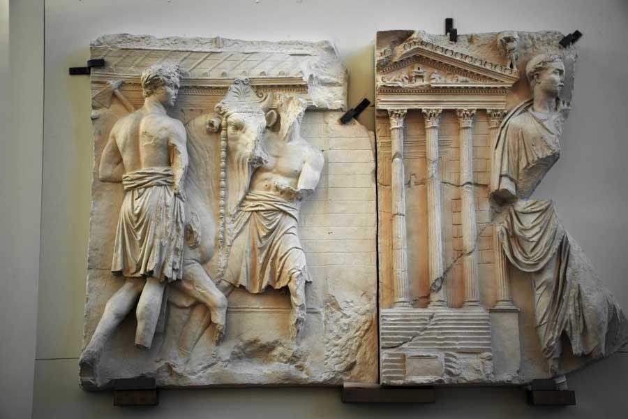 Roma gezilecek yerler Ara Pacis Müzesi kabartmaları (rölyefleri) - Rome Ara Pacis Museum reliefs