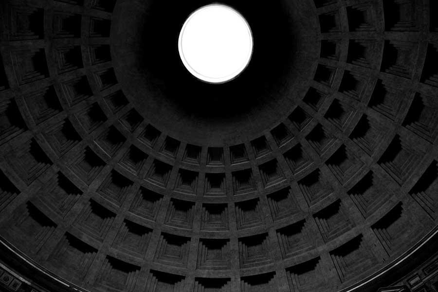 Roma gezilecek yerler Pantheon kubbe içi - Rome Pantheon interior dome