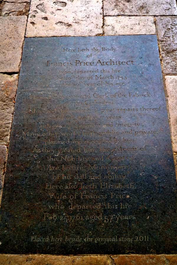 Salisbury Katedrali Francis Price mezarı - Tomb of Francis Price,