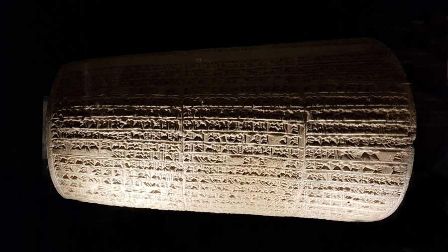 Vatikan müzeleri Asur tarihi eserleri Nabuchadnezar II'nin yazılı silindiri - Vatican museums Assyrian historical works inscribed cylinder of Nabuchadnezar II