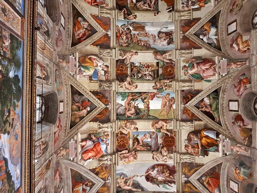 Vatikan müzeleri Sistina şapeli tavanı ortada ilk günah (Michelangelo) - Vatican museums Sistine chapel (cappella Sistina) Original Sin