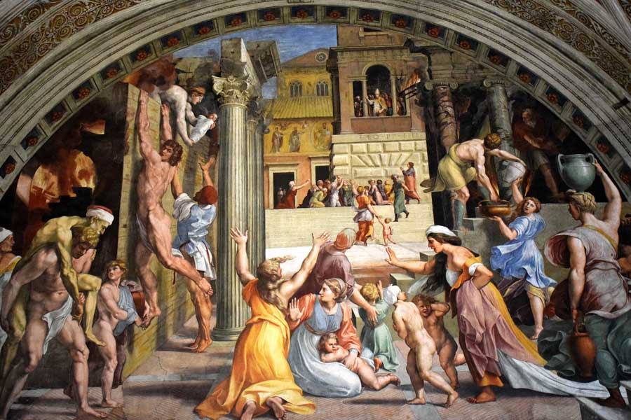 Vatikan müzeleri eserleri Rafael Odaları duvar resimleri Borgo'daki Yangın - Vatican museums Rafael rooms' wall paintings The fire in the Borgo (Stanza dell'Incendio di Borgo)