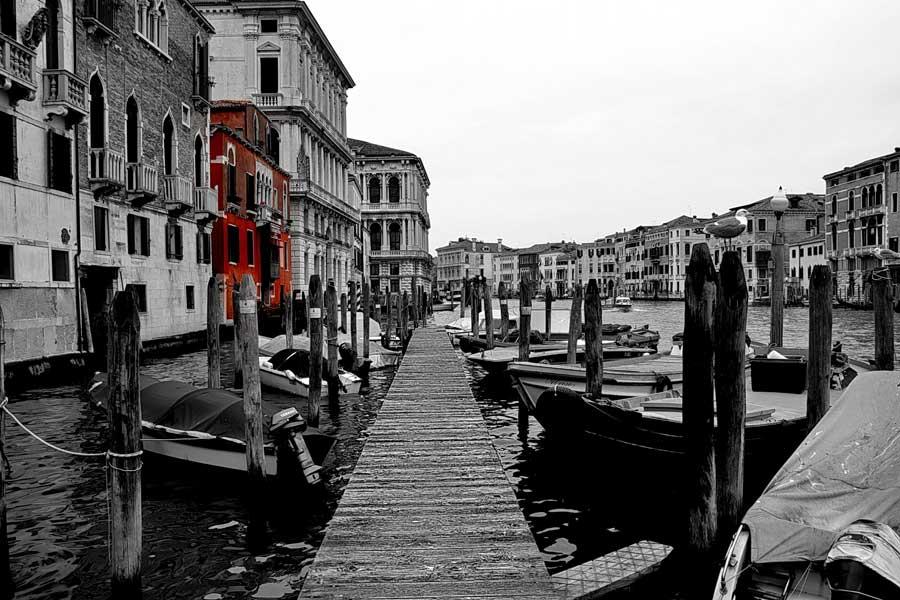 Venedik büyük kanal ve iskeleler - Venice Grande Canal and docks