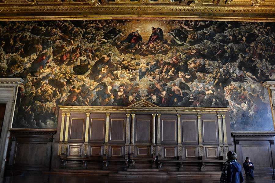 Venedik fotoğrafları Doçlar Sarayı Büyük Konsül Salonu Tintoretto'nun Cennet tablosu - Venice photos Palazzo Ducale Chamber of the Great Council, Paradiso by Tintoretto