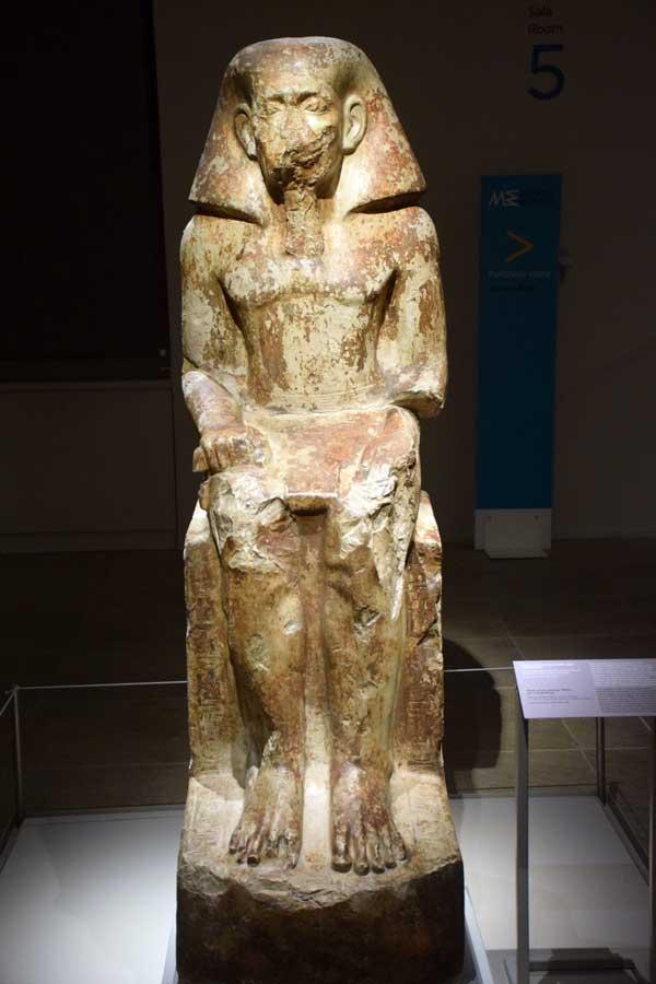 İtalya Torino Mısır müzesi, Neferhotep'in oğlu olan vali Wahka heykeli (kireçtaşı) - Turin Egyptian Museum statue of the governor Wahka, son of Neferhotep (limestone)