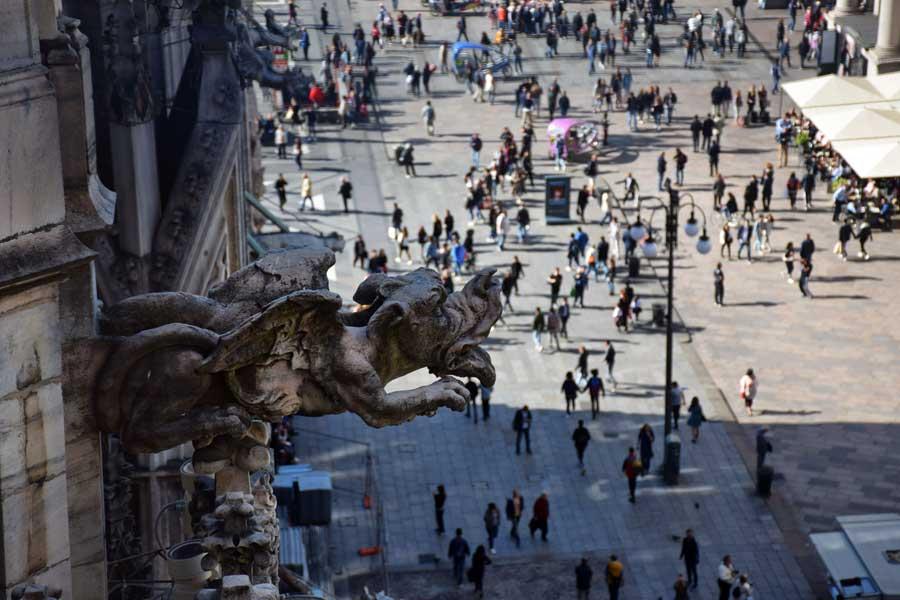 Milano katedrali heykeli çörten detayı - gargoyle detail of Duomo di Milano