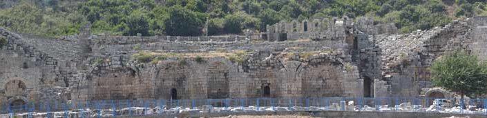Antalya Perge antik kenti panoramik Roma antik tiyatrosu - Perge ancient city panoramic Roman ancient theatre